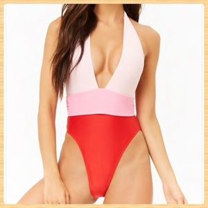 New Forever21 Colorblock One Piece Swimsuit
